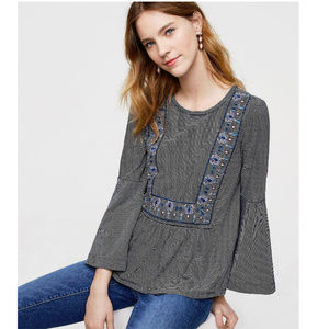LOFT stripe embroidered peasant top bell sleeve XS